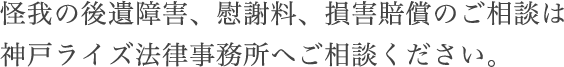 怪我の後遺障害、慰謝料、損害賠償のご相談は神戸ライズ法律事務所へご相談ください。